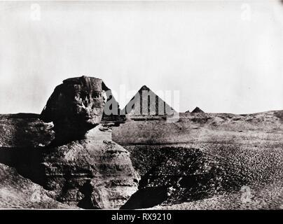 Sphinx et pyramides, Giza, Egypte, 1920 Banque D'Images