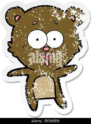 Autocollant en détresse d'un rire teddy bear cartoon Banque D'Images