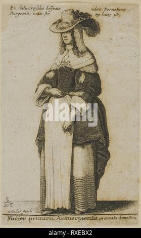 Femme d'Anvers. Wenceslaus Hollar; République tchèque, 1607-1677. Date: 1648. Dimensions: 92 × 57 mm (feuille, parés à l'intérieur d'une plaque d'interrogation). Gravure sur papier asiatique gris. Origine: La Bohême. Musée: le Chicago Art Institute.