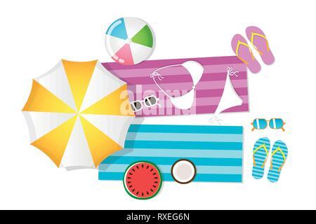 Ustensiles parasol de plage bikini lunettes serviette coco pastèque balle andflip flops vector illustration EPS10 Banque D'Images