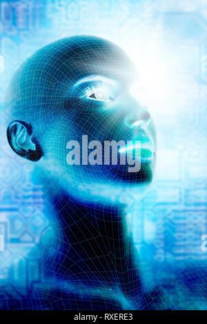 Concept pour l'intelligence artificielle et de singularité technologique Banque D'Images