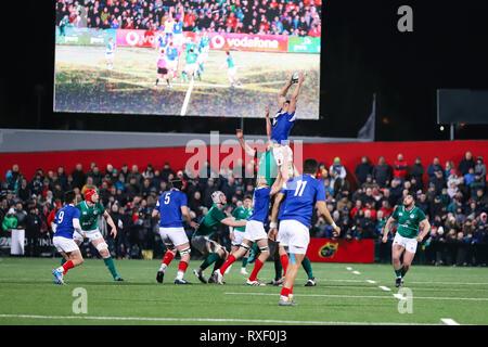 8 mars 2019, Cork, Irlande: En vertu de 20 match des Six Nations entre l'Irlande et la France à l'Irish Independent Park. Banque D'Images