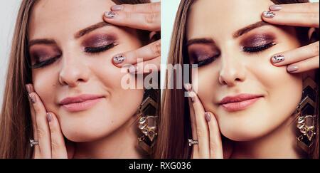 Avant et après dans l'éditeur de retouche. Côte à côte la beauté des portraits de femme avec le maquillage et manucure édité Banque D'Images