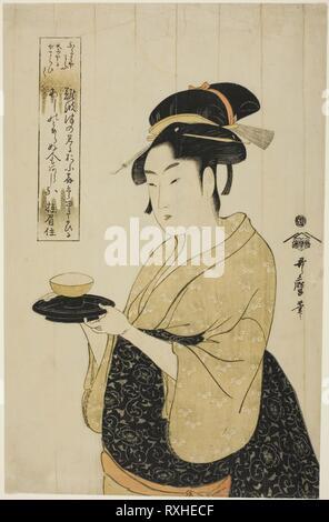 Naniwaya Okita. Kitagawa Utamaro??? ??; Japonais, 1753 (?)-1806. Date: 1788-1798. Dimensions: 37,1 x 23,6 cm (14 5/8 x 9 5/16 in.). Gravure sur bois en couleur; Oban. Origine: Japon. Musée: le Chicago Art Institute. Banque D'Images