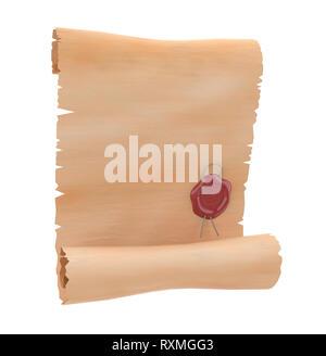 Parchemin avec sceau de cire rouge. Le papier blanc. Le rendu 3d illustration isolé Banque D'Images