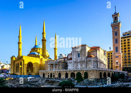 La cathédrale maronite Saint Georges de Beyrouth et Mohammed Al Amin Mosque Banque D'Images