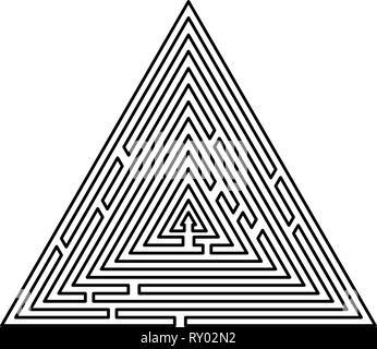 Labyrinthe Labyrinthe Labyrinthe triangulaire énigme énigme icon noir couleur contours vector illustration image style plat Banque D'Images