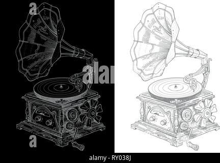 Fantasy steampunk vintage gramophone style grotesque. Hand drawn vector illustration stylo encre gris clair sur fond noir et blanc. Festival de musique Banque D'Images