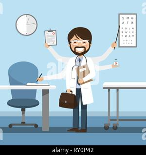 L'homme médecin le multitâche à l'hôpital. Médecine isolé vector illustration