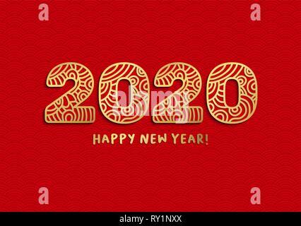 Bonne année 2020 lettres découpées au laser d'or. Zodiaque cochon chinois avec des numéros sur fond ondulé rouge. Motif de vagues isolées, papier coupé clipart. Carte de vœux de Nouvel An, modèle vecteur bannière Banque D'Images
