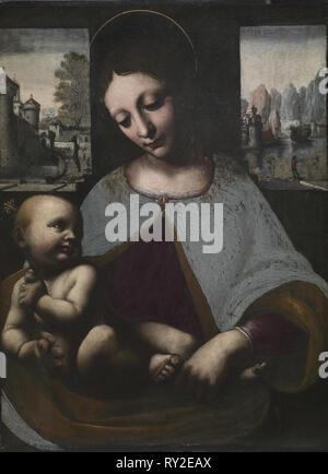 Vierge à l'enfant, ch. 1500. Cercle de Leonardo da Vinci (italien, 1452-1519). Huile sur bois; pans: 57,5 x 47 x 4 cm (22 5/8 x 18 1/2 x 1 9/16 in.); surface peinte: 41,5 x 30,3 cm (16 5/16 x 11 15/16 in.); bord: 41,7 x 30,9 cm (16 7/16 x 12 3/16 po Banque D'Images