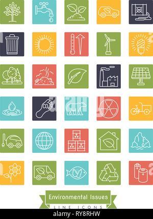 Collection de l'environnement et des changements relatifs ligne vectorielle icônes de carrés de couleur. La durabilité, le réchauffement planétaire et le changement climatique des symboles. Banque D'Images