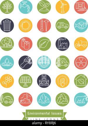 Collection de l'environnement et des changements relatifs ligne vectorielle icônes de cercles colorés. La durabilité, le réchauffement de la pollution et des symboles. Banque D'Images