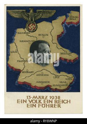 Carte postale historique allemand: un plébiscite sur la question de l'annexion de l'Autriche, 'ein Volk ein reich ein führer' 1938, l'Allemagne, Troisième Reich