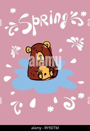 La conception de cartes avec un contour de cute bear à la main, dans une flaque bleue sur un fond rose. Inscription du printemps. Les taches sont brown et Banque D'Images