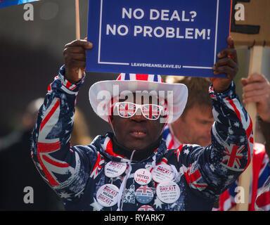 La place du parlement, Londres, Royaume-Uni. 13 mars, 2019. Brexit Pro manifestants à l'extérieur de l'entrée au Parlement le jour où le chancelier de l'échiquier présente son Énoncé de printemps et de députés plus tard voter sur la question de savoir si ou de ne pas laisser l'Union européenne sans un accord. Credit: Malcolm Park/Alamy Live News.