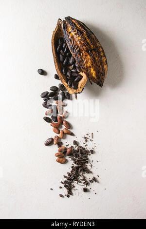 Variété de produits frais et sec à partir de fèves de cacao cabosse avec des morceaux de chocolat noir sur blanc texture background. Mise à plat, de l'espace