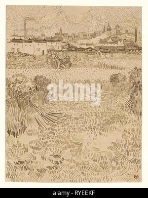 Arles: vue depuis le blé; Vincent van Gogh (Néerlandais, 1853 - 1890), Arles, France, 1888; Reed et plume et encre brune, 31,2 × 24,1 cm (12 1/2 x 9 5/16 in.); 2001.25 Banque D'Images