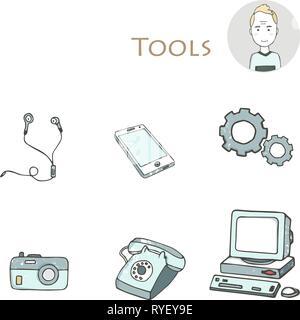 Ensemble de la main electorinc avec icônes gadget pc, téléphone, appareil photo, écouteurs, outils, ordinateur, ordinateur portable, moniteur. Clip art isolé grunge style t Banque D'Images