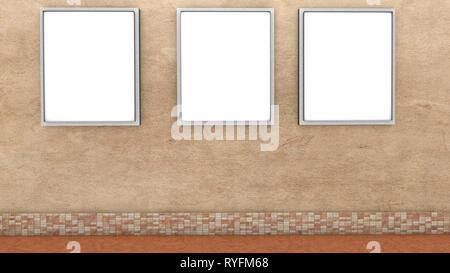 Trois bannières vides sur le mur le rendu 3D Illustration Banque D'Images