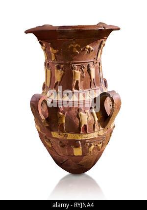 Inandik secours culte Hittite décoré de libation vase avec quatre frises décoratives avec chiffres colorés en crème, rouge et noir. La voie processionnelle