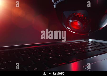 Dome cctv et clavier en gros plan. L'intelligence artificielle et les menaces possibles concept. Le rendu 3D Banque D'Images