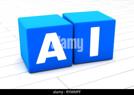 Rendu 3D illustration du mot AI comité permanent pour l'intelligence artificielle faite de cubes. Banque D'Images