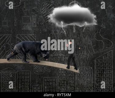 Businessman contre l'ours noir en équilibre sur planche avec la pluie et la foudre nuage gris doodles wall background