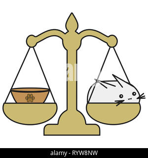 Bunny Balance signe du zodiaque en style cartoon. illustration sur fond blanc. Banque D'Images