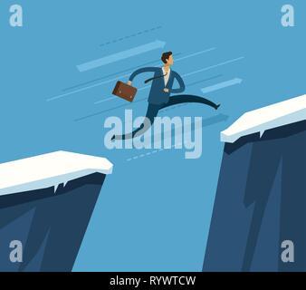 Businessman jumping over chasm. Concept d'entreprise. Vector illustration Banque D'Images
