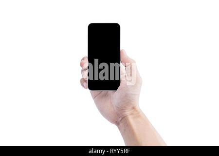 Main tenant téléphone intelligent, écran blanc isolé sur fond blanc. Clipping path: Banque D'Images