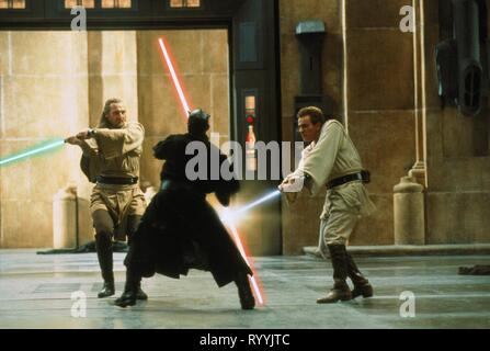 LIAM NEESON,RAY PARK,EWAN MCGREGOR, Star Wars : Episode I - LA MENACE FANTÔME, 1999 Banque D'Images