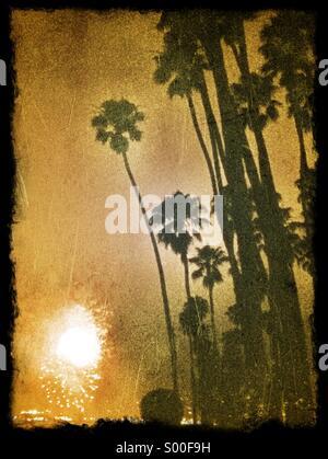 Feu d'artifice le 4 juillet à l'East Beach, Santa Barbara, California USA Banque D'Images