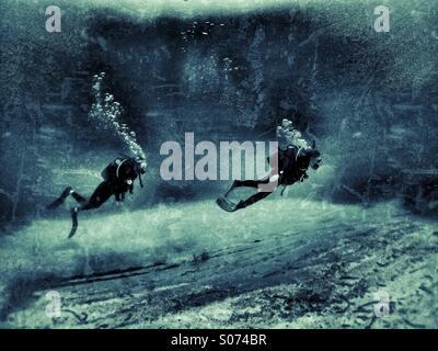 Deux plongeurs à maturité au cours de natation de récifs calcaires Banque D'Images