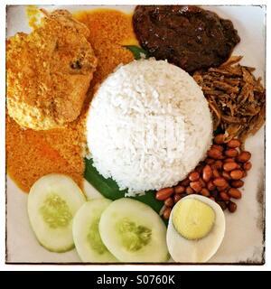 Malaysian Nasi lemak riz de noix de coco au curry de poulet, oeufs, anchois frits, le concombre, l'arachide et le Banque D'Images