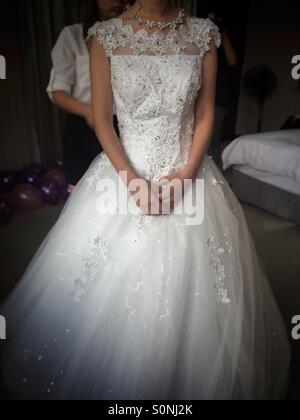La préparation de la mariée pour son mariage Banque D'Images