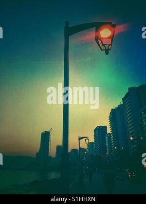 La lumière de la rue au lever de Beyrouth Liban Banque D'Images