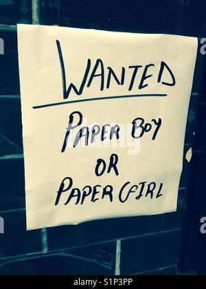 Annonce d'offres d'emploi (pour un paperboy ou une fille de papier). Banque D'Images