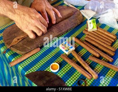 Farmer rouler des cigares sur une ferme de tabac dans la Vallée de Viñales, Cuba