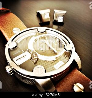 Vue rapprochée d'un men's watch Diesel Banque D'Images
