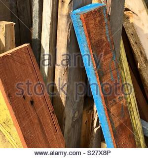 Des planches de bois colorés Banque D'Images