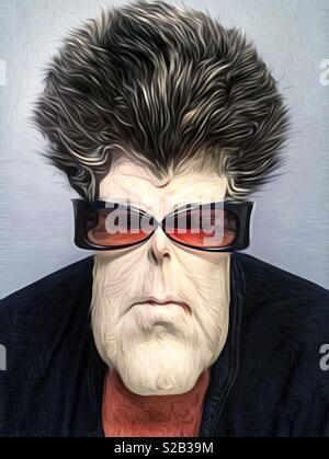 Résumé Une caricature d'une femme aux cheveux noirs portant des lunettes et un masque de boue blanche Banque D'Images
