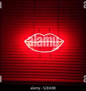 Lèvres néon, lèvres, néon, nuit Banque D'Images