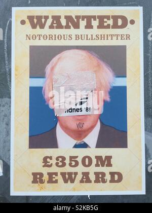 Dégradé Boris Johnson '£350M récompenser' Brexit poster Banque D'Images