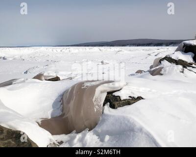 La glace sur le lac Supérieur Banque D'Images