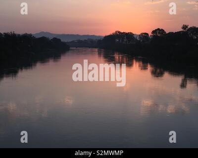 Matin voir de Gange Inde Uttarakhand Haridwar Banque D'Images