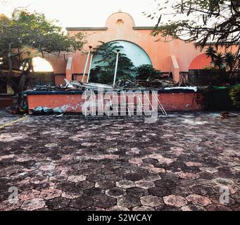 Les biens abandonnés à Cancun, Mexique Banque D'Images