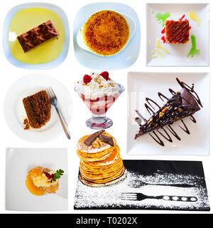 Collage de différents desserts isolé sur fond blanc Banque D'Images