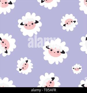 Dessin Textile, et d'impressions, de l'emballage. Illustration vecteur animal mouton transparente motif violet. pour les filles avec des moutons. Banque D'Images
