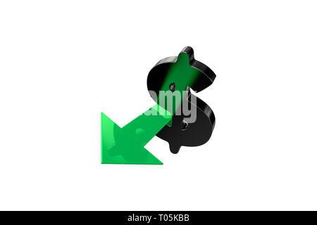 Le rendu 3D de la finance et du commerce concept avec le signe du dollar et flèche verte, isolé sur fond blanc. Banque D'Images
